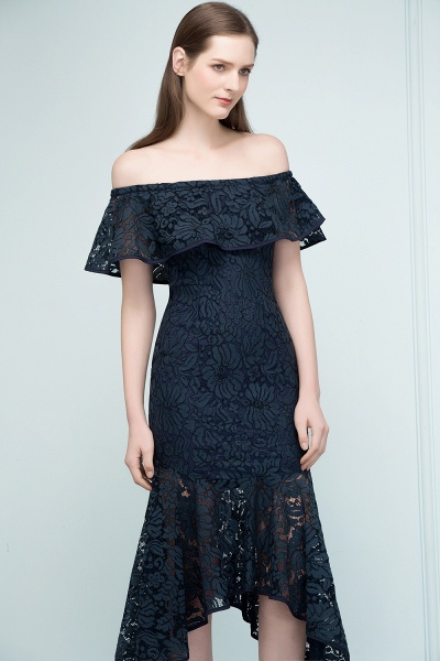 Affordable Off-the-shoulder Lace Mermaid Evening Dress_7