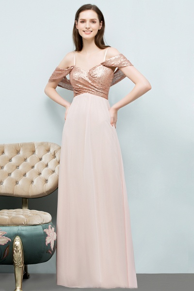 A-line Chiffon Sequins Straps Sweetheart Sleeveless Floor-Length Bridesmaid Dresses_1