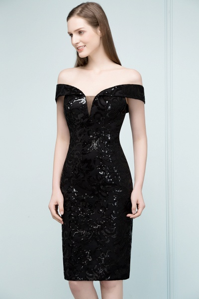 Attractive Off-the-shoulder Sequined Column Evening Dress_8