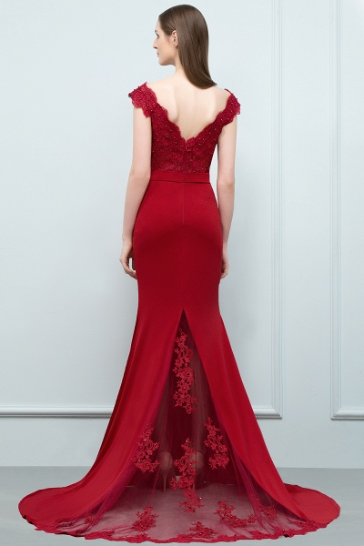 Affordable V-neck Stretch Satin Mermaid Evening Dress_2