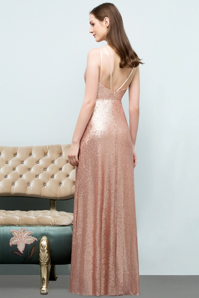 Wonderful Spaghetti Straps Sequined A-line Evening Dress_8