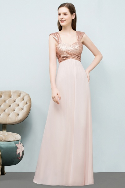 A-line Chiffon Sequins Straps Sweetheart Sleeveless Floor-Length Bridesmaid Dresses_3