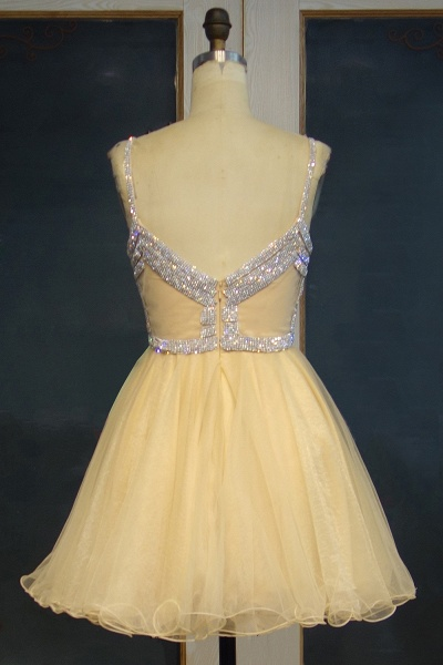 JEMMA | A-line Spaghetti Sweetheart Short Tulle Sequined Prom Dresses_3