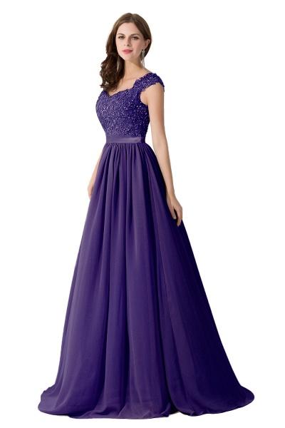 A-line V Neck Appliques Chiffon Bridesmaid Dress_4