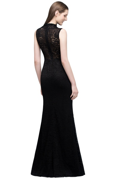Modest High Neck Lace Mermaid Evening Dress_3