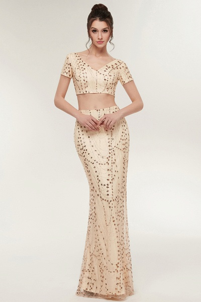 ZANDRA | Mermaid Two-piece V-neck Floor Length Short Sleeves Champagne Prom Dresses with Sequins_5
