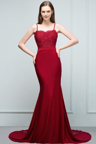 Modest Spaghetti Straps Stretch Satin Mermaid Evening Dress_7