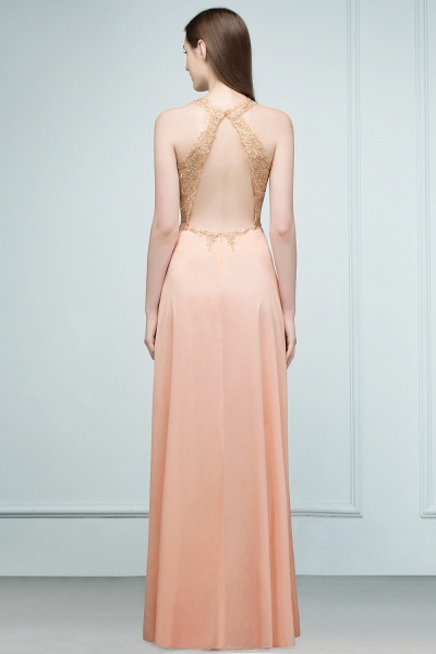 Excellent V-neck Chiffon A-line Evening Dress_4