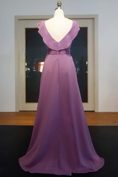 JOANNA | A-line V-neck Sleeveless Floor Length Ruffled Chiffon Prom Dresses_3