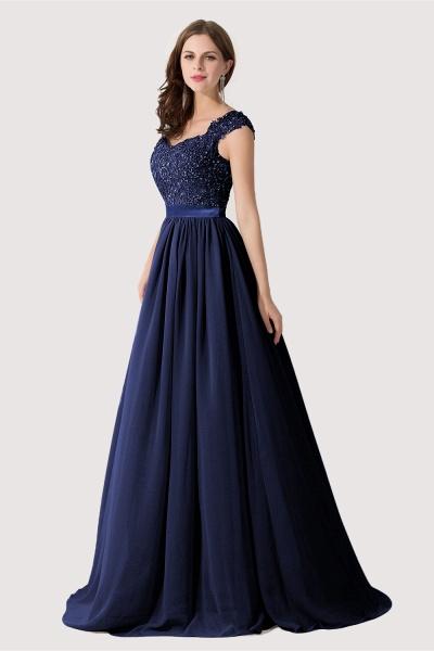 A-line V Neck Appliques Chiffon Bridesmaid Dress_6