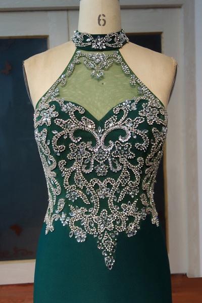JOCELYNN   Mermaid Floor Length Halter Crystal Beading Prom Dresses_4