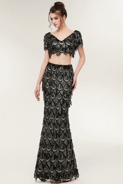 Modest V-neck Sequined Mermaid Evening Dress_3