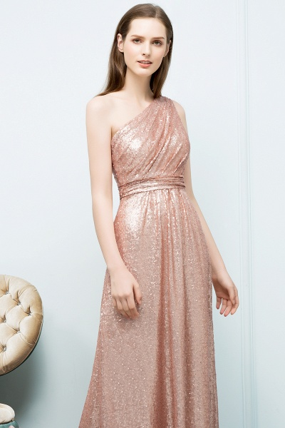 A-line Sequined One-shoulder Sleeveless Floor-Length Bridesmaid Dresses_3