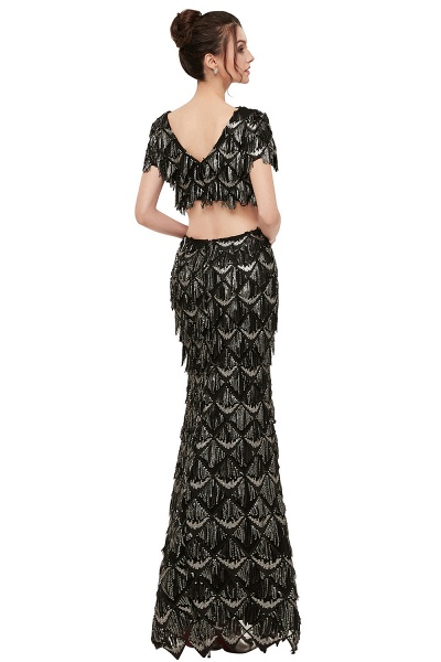 Modest V-neck Sequined Mermaid Evening Dress_2