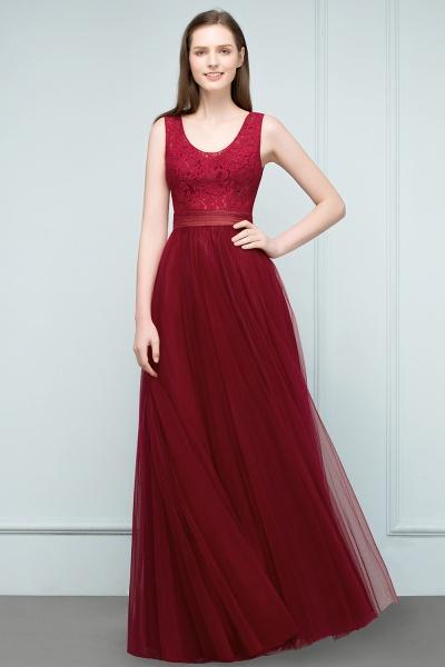 Elegant Straps Tulle A-line Evening Dress_5
