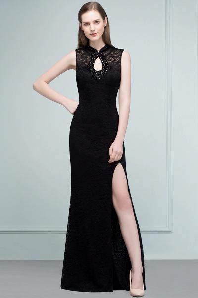 Modest High Neck Lace Mermaid Evening Dress_7