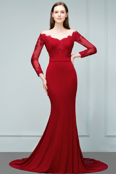 Attractive Off-the-shoulder Satin Mermaid Evening Dress_4