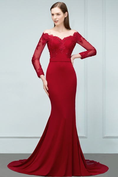 Attractive Off-the-shoulder Satin Mermaid Evening Dress_5