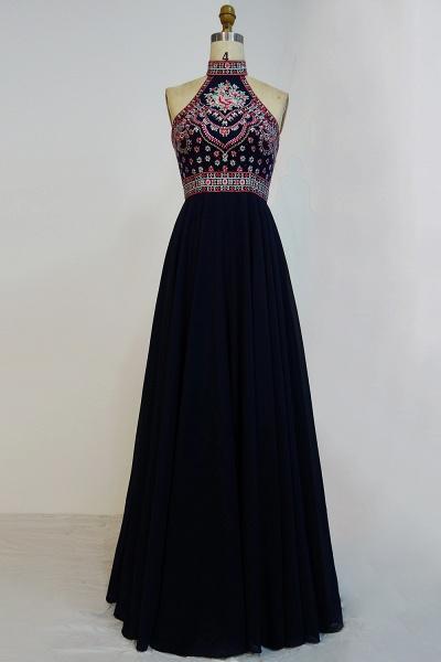 JAYLENE   A-line Halter Floor Length Embroidered Flowers Black Prom Dresses_1