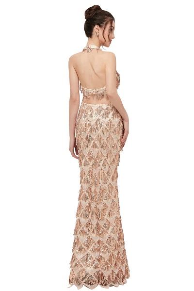 Chic Halter Chiffon Mermaid Evening Dress_3