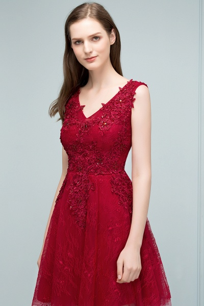 Best V-neck Tulle A-line Evening Dress_6