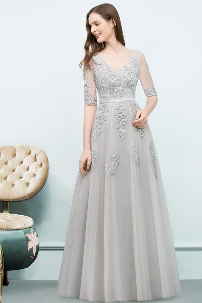 Glorious V-neck Tulle A-line Evening Dress_11