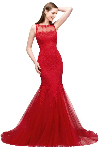 Chic Jewel Tulle Mermaid Evening Dress_1