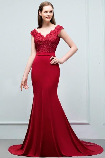 Affordable V-neck Stretch Satin Mermaid Evening Dress_5