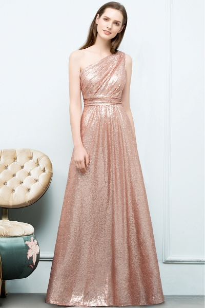 Awesome One Shoulder Sequined A-line Evening Dress_7