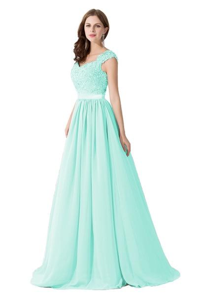 A-line V Neck Appliques Chiffon Bridesmaid Dress_8