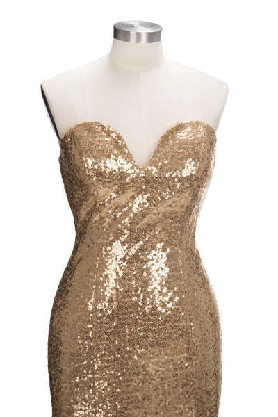 VESTA | Mermaid Sweetheart Strapless Long Split Sequins Prom Dresses_4
