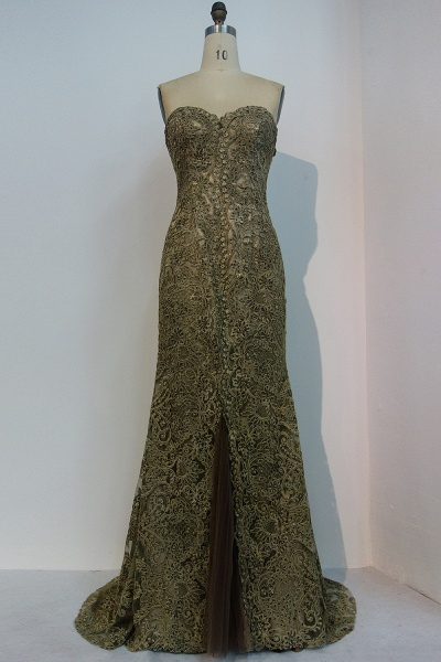 JEWEL | Mermaid Strapless Sweetheart Floor Length Lace Prom Dresses_1
