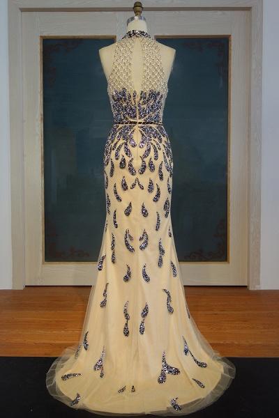 JIMENA | Mermaid Halter Floor Length Sequined Patterns Prom Dresses_3