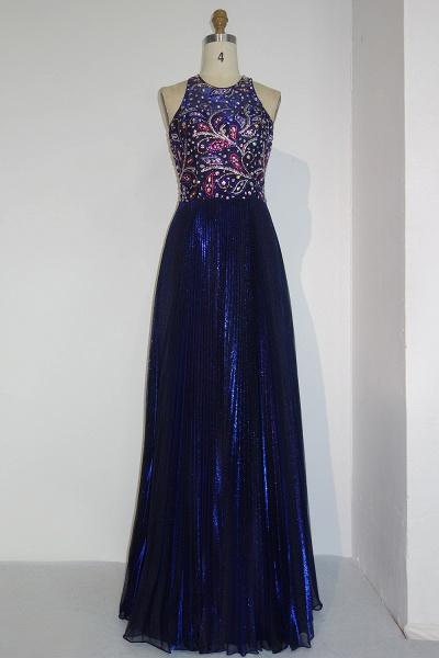 JENNA | A-line Crew Sleeveless Floor Length Sequined Crystal Beading Prom Dresses_1