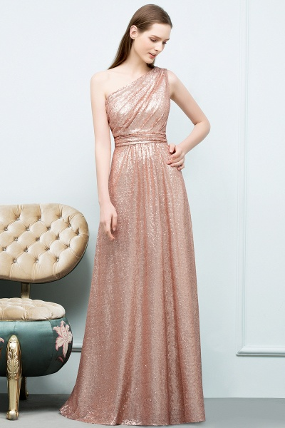 Awesome One Shoulder Sequined A-line Evening Dress_4