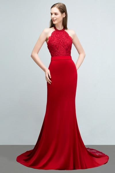 Sleek Halter Stretch Satin Mermaid Evening Dress_5