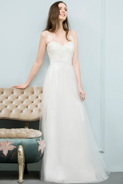 Fabulous V-neck Tulle A-line Evening Dress_5