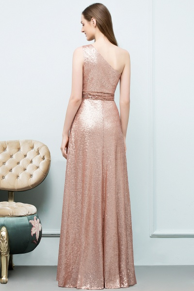Awesome One Shoulder Sequined A-line Evening Dress_3