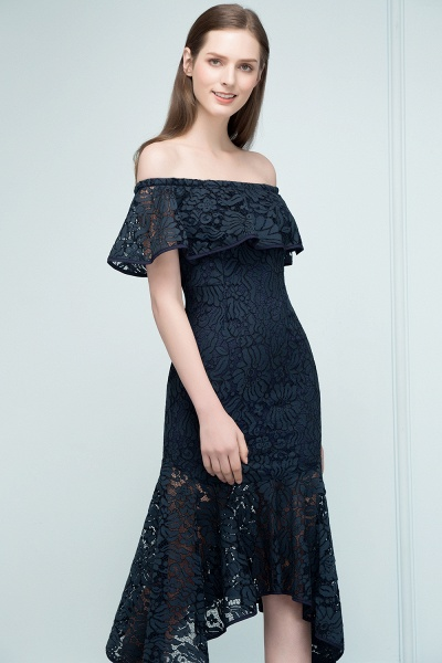 Affordable Off-the-shoulder Lace Mermaid Evening Dress_8