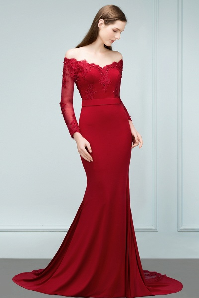 Attractive Off-the-shoulder Satin Mermaid Evening Dress_8
