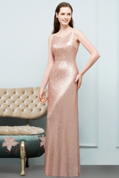 Wonderful Spaghetti Straps Sequined A-line Evening Dress_4