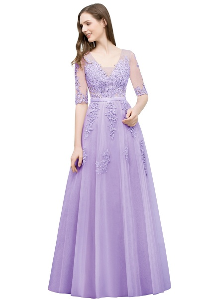 Glorious V-neck Tulle A-line Evening Dress_7