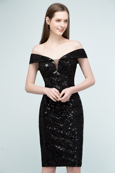 Attractive Off-the-shoulder Sequined Column Evening Dress_7
