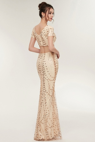 ZANDRA | Mermaid Two-piece V-neck Floor Length Short Sleeves Champagne Prom Dresses with Sequins_8