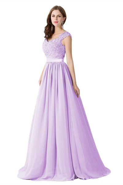 A-line V Neck Appliques Chiffon Bridesmaid Dress_5