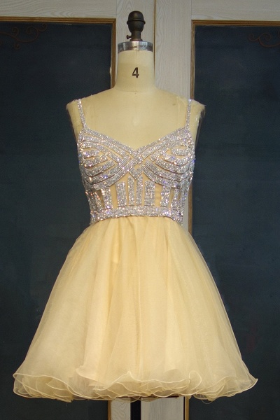 JEMMA | A-line Spaghetti Sweetheart Short Tulle Sequined Prom Dresses_1