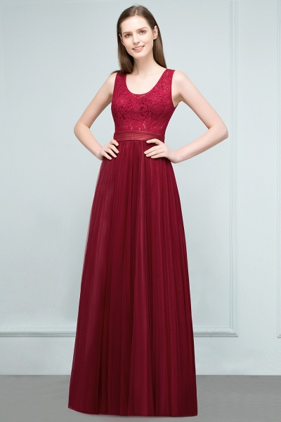 Elegant Straps Tulle A-line Evening Dress_1