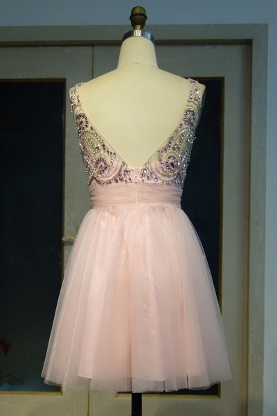 JAZMINE | A-line Short Scoop Sleeveless Pink Crystal Beading Prom Dresses_3