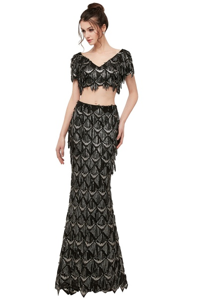 Modest V-neck Sequined Mermaid Evening Dress_1