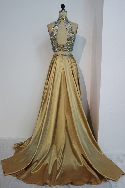 JESSA | A-line Two-piece Floor Length Halter Prom Dresses with Crystals_3
